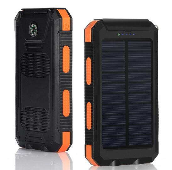 10000mah solar power bank waterproof IP67 with 2 flashlight
