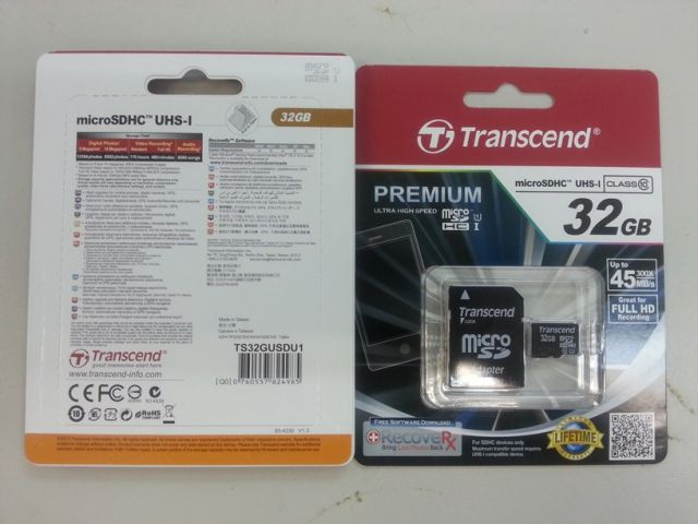 Transcend MicroSD C10 with adapter 45MB 16GB-64GB