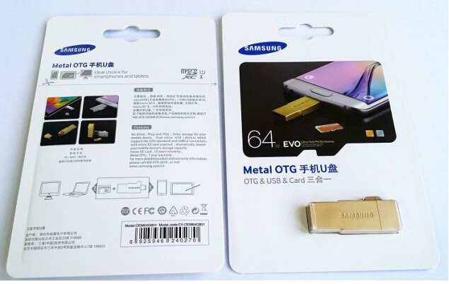 Samsung Micro SD with Metal OTG Gold 16GB-64GB